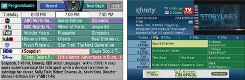 Рисунок 1: Внедрение новых технологий в мир платного телевидения проходило весьма медленно. Электронный программный гид TheStarSigh из 1995 года (слева) не сильно отличается от электронного программного гида, используемого в наши дни (EPG от Comcast, 2011, справа). Источник: nScreenmedia