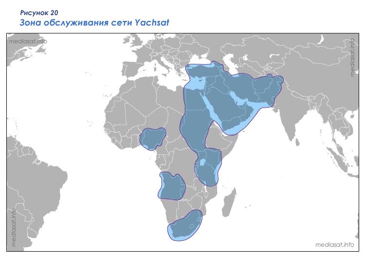 Рисунок 20 – Зона обслуживания сети Yachsat