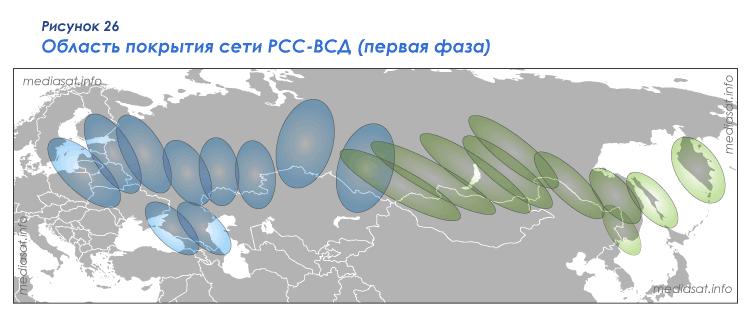 Рисунок 26 – Область покрытия сети РСС-ВСД (первая фаза)