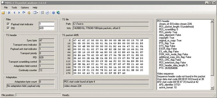 Программа TS Packet Analyzer (www.pjdaniel.org.uk/mpeg)