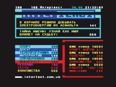 Работа телетекста на телеканале «Интер»