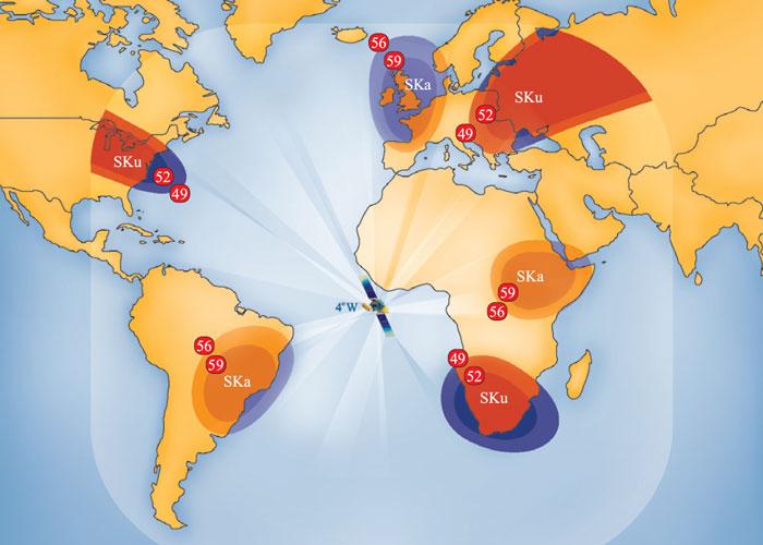 Карта покрытия спутника AMOS-3, (4 гр.з.д.)