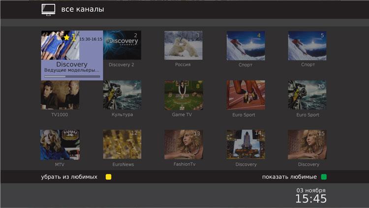 Интерфейс iVision Middleware, мозаика телеканалов (Mosaic View)
