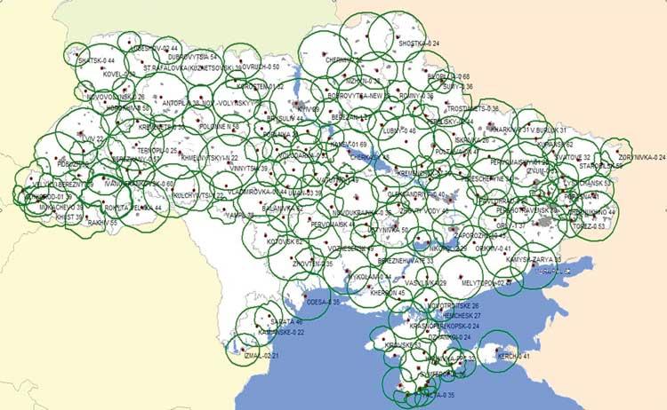 Карта покрытия сети «Зеонбуд»