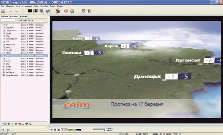 Просмотр телеканалов в формате MPEG-4