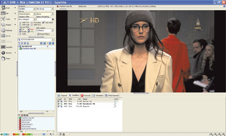 Просмотр HD-каналов, стандарт DVB-S2 (телеканал Fashion One HD)
