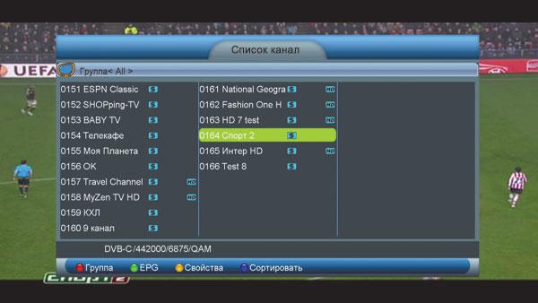 Список просканированных каналов