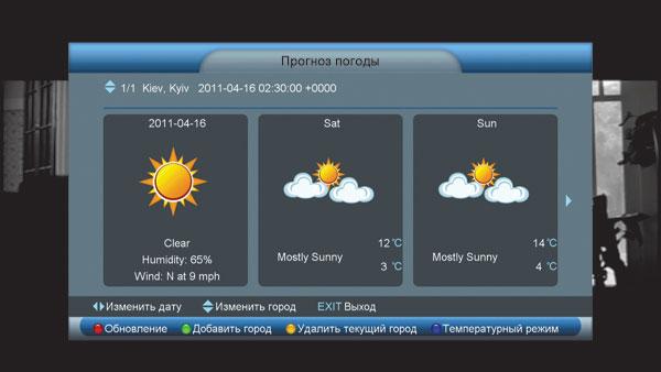 Пункт меню «Прогноз погоды на три дня»