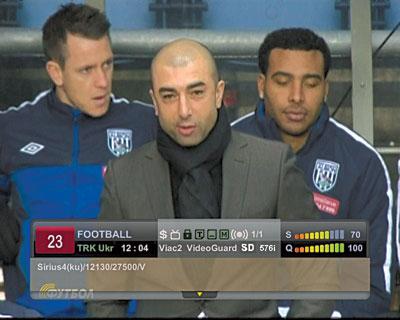 Astra 4А, 4,8 гр.в.д. Прием телеканала «Футбол»