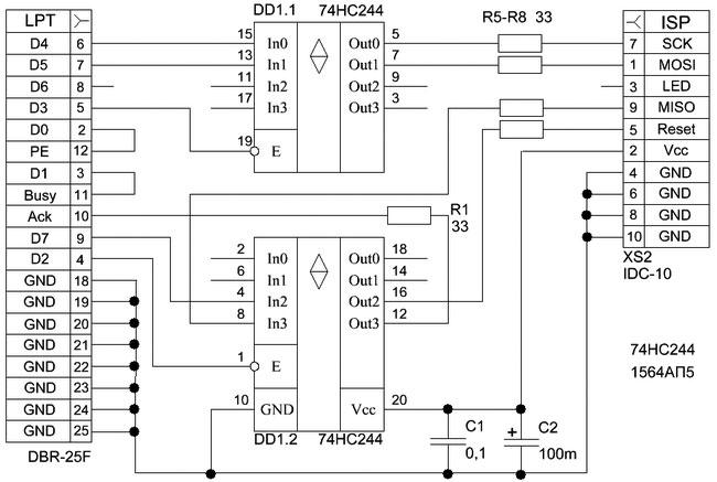 Рис.A3. Схема программатора STK-200/300
