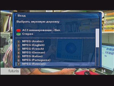 Выбор аудиодорожки на телеканале EuroNews