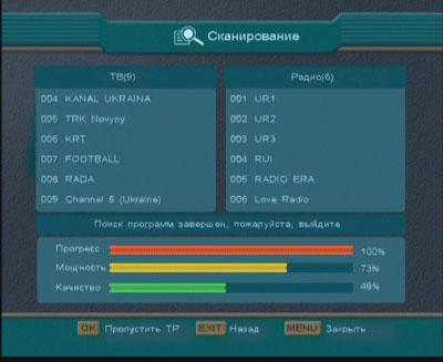 Сканирование спутника Astra 4A (4 гр.в.д.)