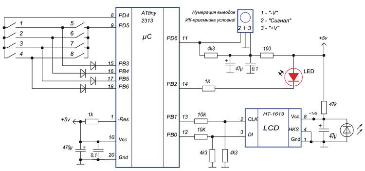 Рис. 1. Схема приемника-декодера сигналов управления