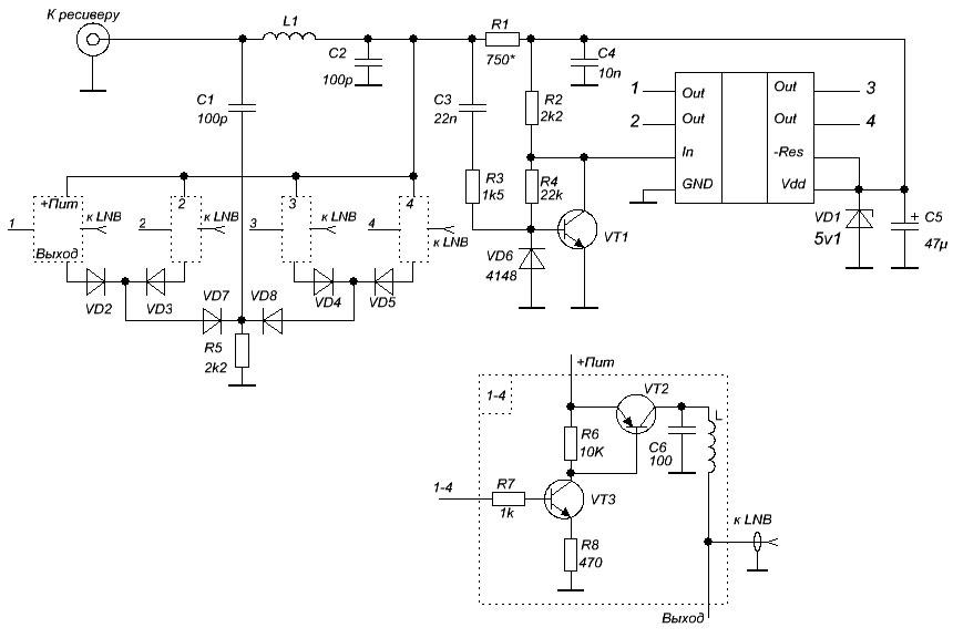 Рис. 1. Принципиальная электрическая схема DISEqC 1.0