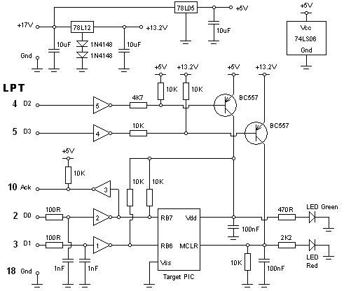 Рис. 2. Принципиальная электрическая схема программатора МК PIC
