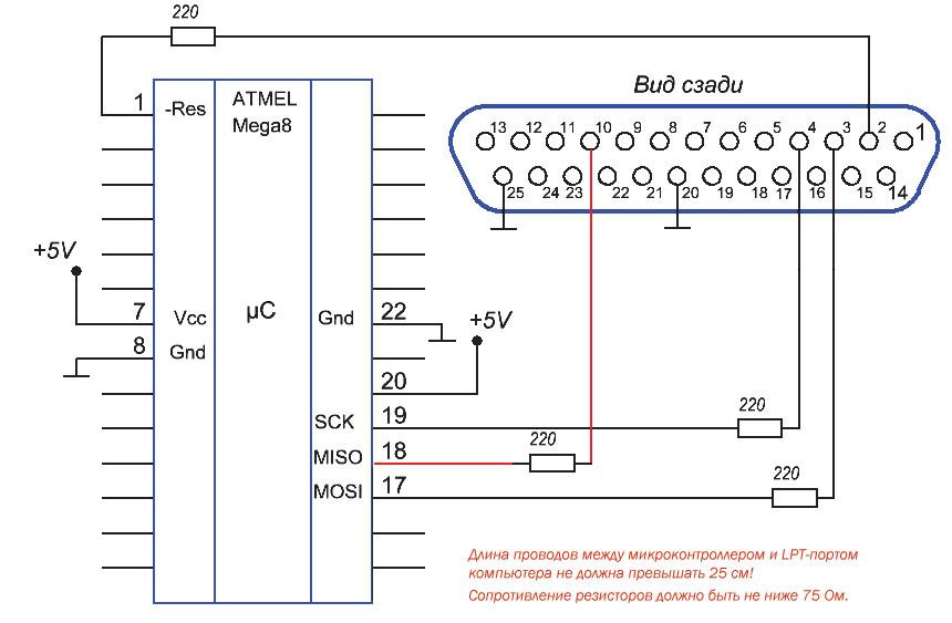 Рис. 8. Схема подключения микроконтроллера к LPT-порту компьютера
