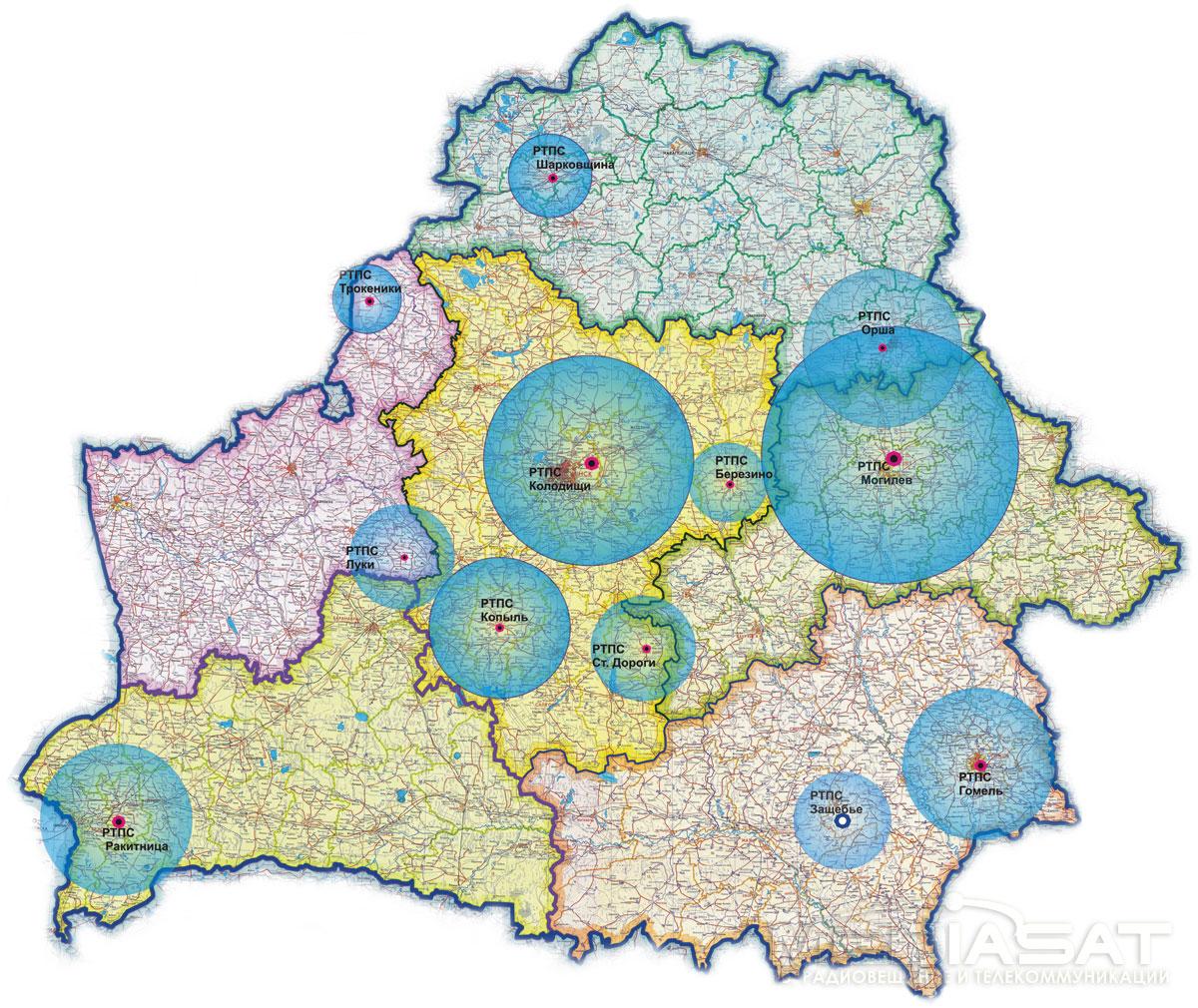 Зона охвата территории Республики Беларусь цифровым вещанием стандарта DVB-T. По состоянию на 23.06.2009