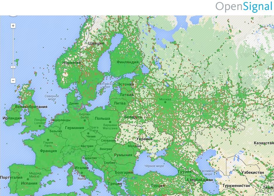 Интерактивная карта мирового мобильного интернета (3G)