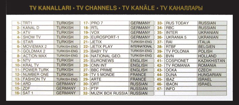 Список каналов одного из отелей 5* в Белеке