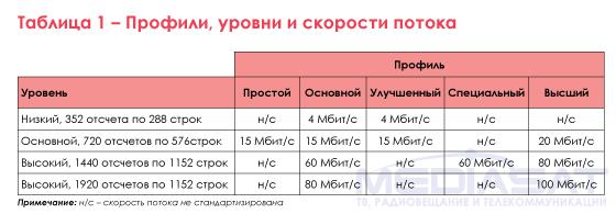 Таблица 1 – Профили, уровни и скорости потока