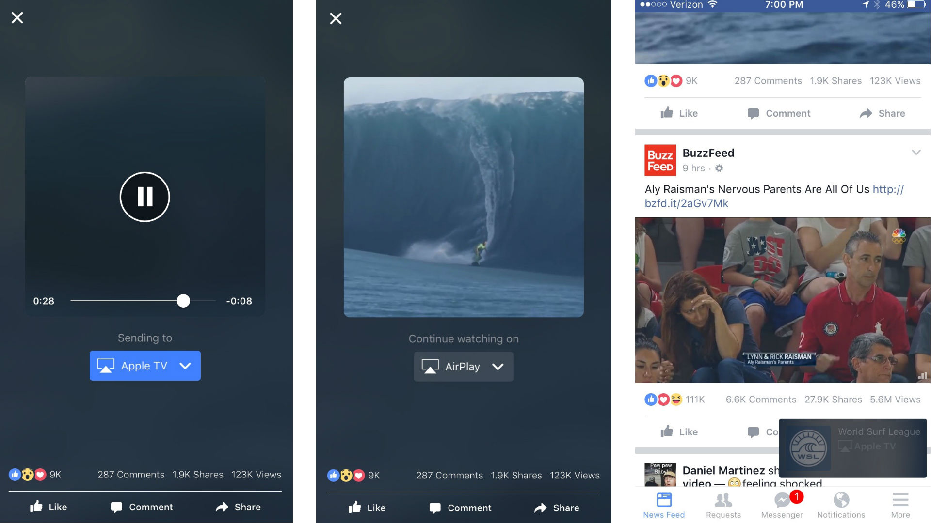 Facebook streaming videos to TV