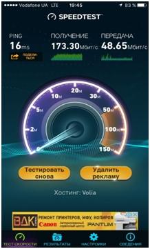 Скорость передачи данных в тестируемой LTE-сети Vodafone составила 173 Мбит/сек на загрузку и 48 Мбит/сек на передачу