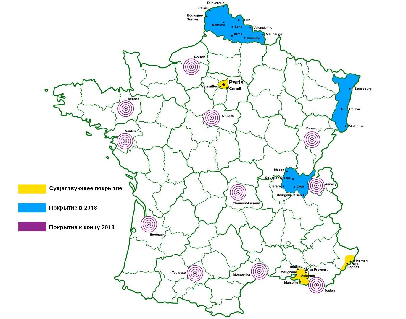 Покрытие территории Франции сигналом DAB, 2017