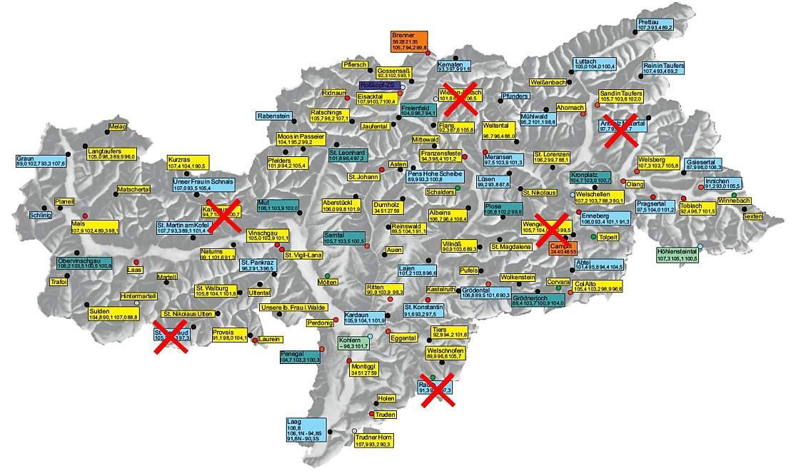 Карта сети радиостанции RAS FM, на которой отдельно отмечены FM-передатчики, отключенные 5 декабря