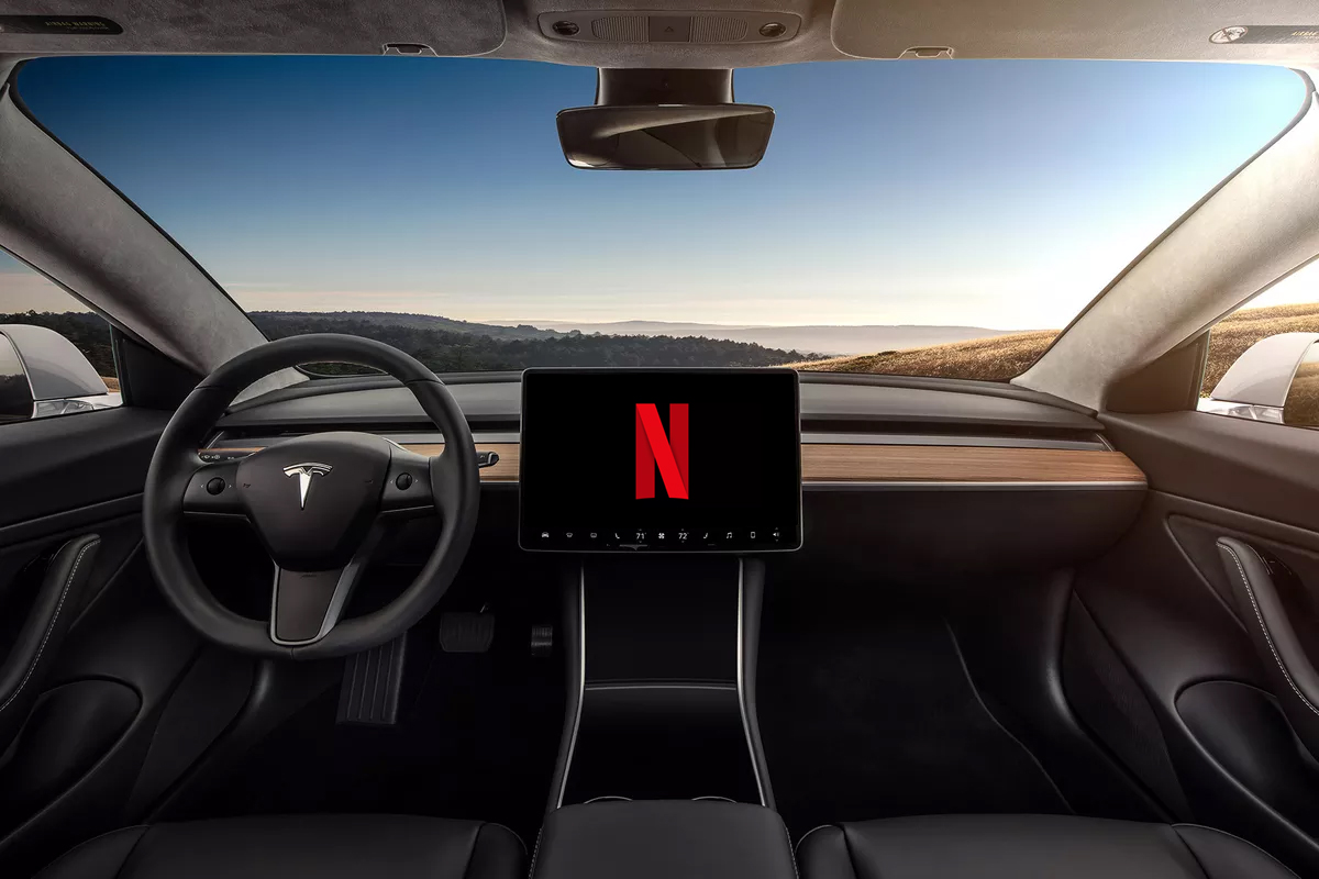 Tesla Netflix and YouTube