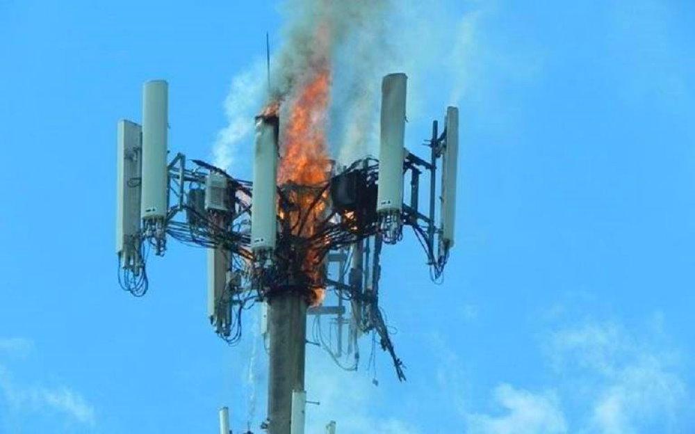 Пожар на 5G вышке